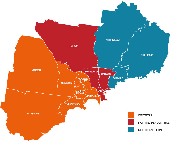 The north and west metropolitan region of Melbourne (NW Metro)