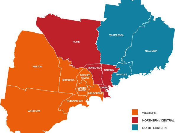 Map of local government areas in north west Melbourne.